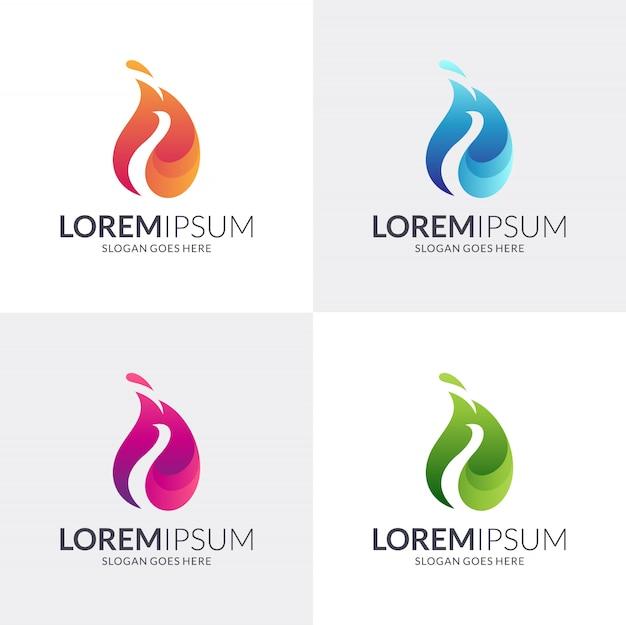Ensemble de logo coloré feuille et paon