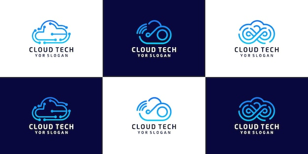 Ensemble de logo de conception de nuage de technologie, stockage de données