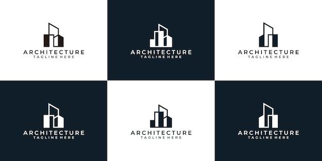 Ensemble de logo de construction d'architecture