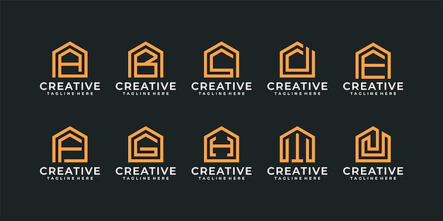 Ensemble de logo de construction de lettre abstraite