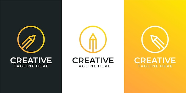 Ensemble de logo de crayon créatif