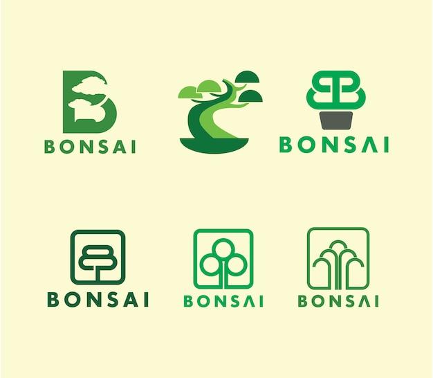 Ensemble de logo créatif bonsai tree