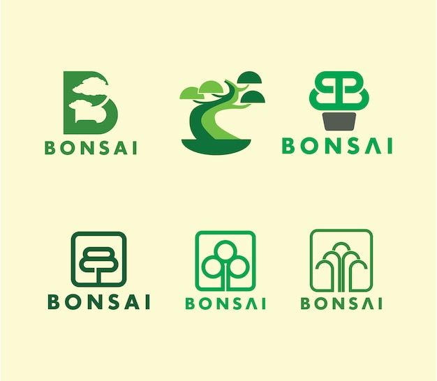 Ensemble De Logo Créatif Bonsai Tree Vecteur Premium