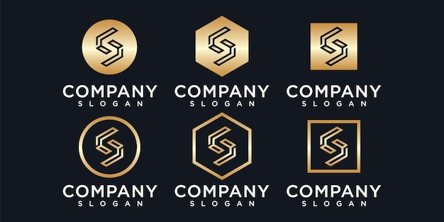 Ensemble de logo créatif monogramme lettre s avec modèle de style doré