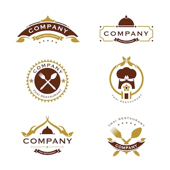 Ensemble de logo de cuisine thaïlandaise couleur dorée
