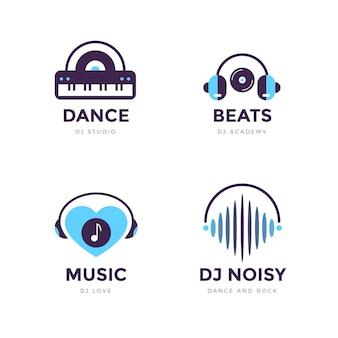 Ensemble de logo dj design plat