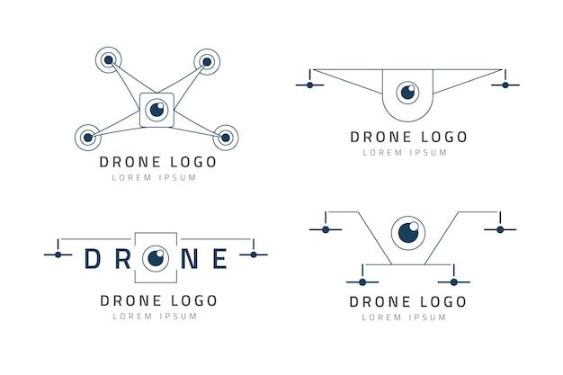 Ensemble de logo de drone plat