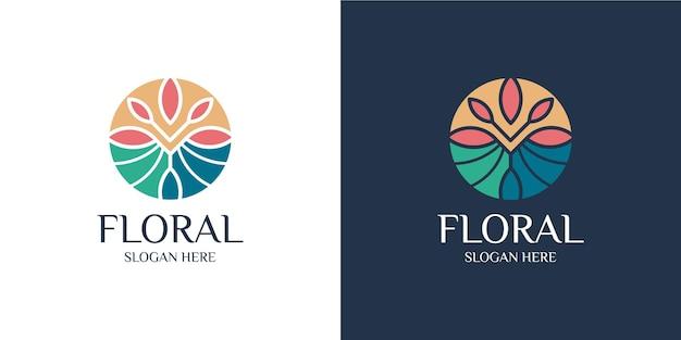 Ensemble de logo élégant floral coloré