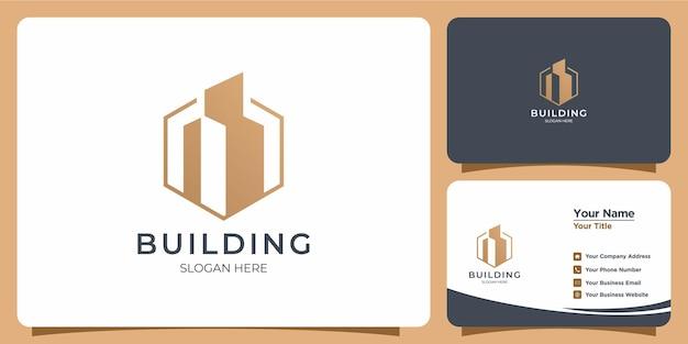 Ensemble de logo élégant et minimaliste de style de ligne avec la marque de carte de visite