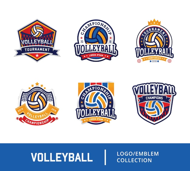 Ensemble de logo emblème de conception de volley-ball