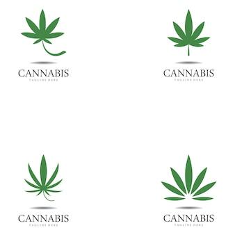 Ensemble de logo de feuille de chanvre cannabis marijuana