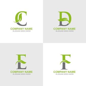 Ensemble de logo feuille initiale c, d, e, f