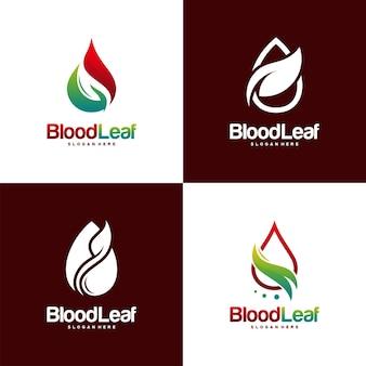 Ensemble de logo de feuille de sang conçoit le concept vecteur le logo du donneur conçoit l'élément de logotype de logo de concept de conception de modèle pour le modèle