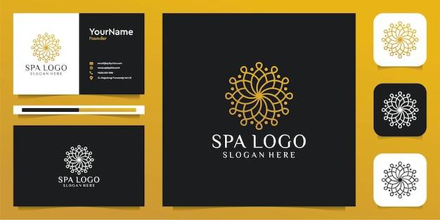 Ensemble de logo de fleur de feuille de ligne féminine inspirante