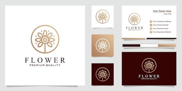 Ensemble de logo de fleur minimaliste et cartes de visite