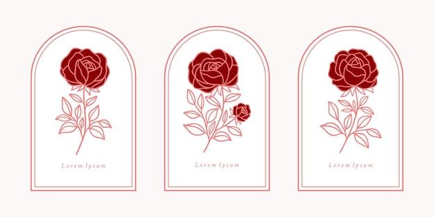 Ensemble de logo de fleur rose botanique rose vintage dessinés à la main et éléments de branche de feuille