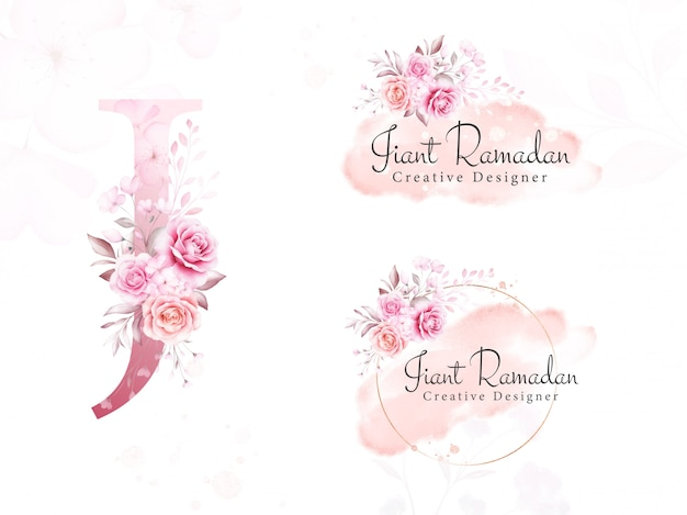 Ensemble de logo de fleurs aquarelles pour j initial de floral doux, feuilles, coup de pinceau et paillettes d'or. insigne botanique premade, monogramme pour l'image de marque