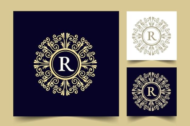 Ensemble de logo floral féminin calligraphique dessiné à la main monogramme héraldique style antique, design de luxe
