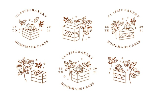 Ensemble de logo de gâteau, pâtisserie et boulangerie dessiné à la main