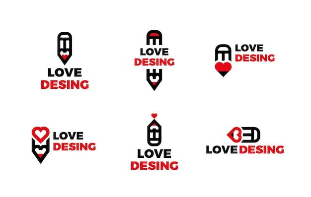 Ensemble de logo de graphiste plat