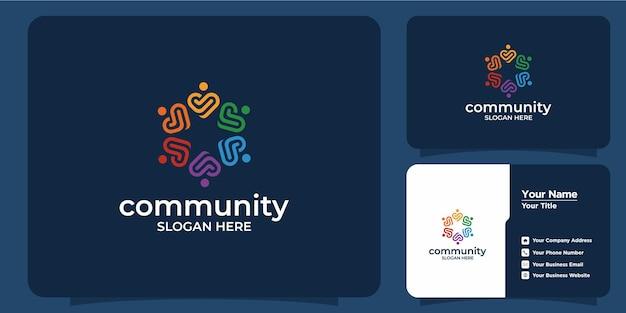 Ensemble de logo de groupe social coloré créatif et carte de visite