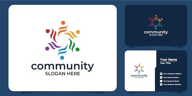 Ensemble de logo de groupe social coloré printcreative et carte de visite