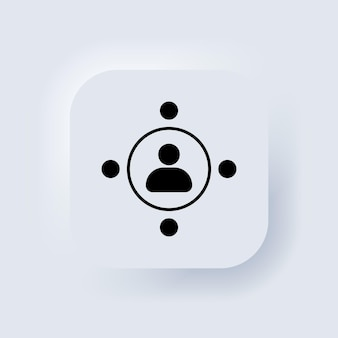 Ensemble de logo d'icône de communauté. icône de travail d'équipe. le concept d'une rencontre collective de personnes et beaucoup de travail. bouton web de l'interface utilisateur blanc neumorphic ui ux. neumorphisme. vecteur eps 10.