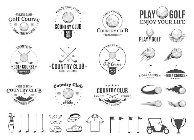 Ensemble de logo et d'icônes de country club de golf