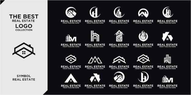 Ensemble de logo immobilier / collection de logo de maison créative / ensemble de logo de bâtiments abstraits. collection d'ensembles d'architecture de bâtiment, style d'art en ligne de conception de logo immobilier