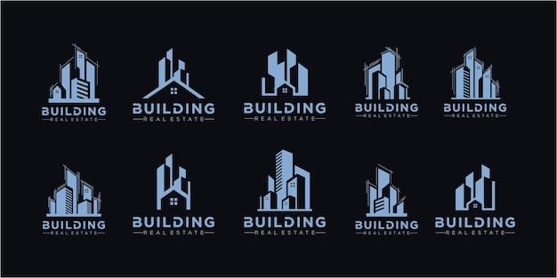 Ensemble de logo immobilier / collection de logo de maison créative / ensemble de logo de bâtiments abstraits. ensemble de vecteurs d'icônes de construction. collection d'illustrations du logo de la ville du bâtiment et de l'immobilier.