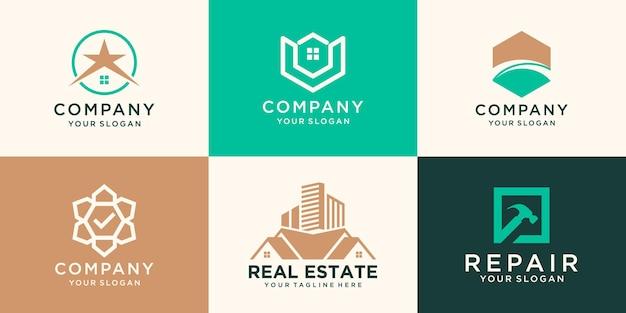 Ensemble de logo immobilier, collection de logo de maison créative, ensemble de logo de bâtiments abstraits.