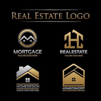 Ensemble de logo immobilier doré