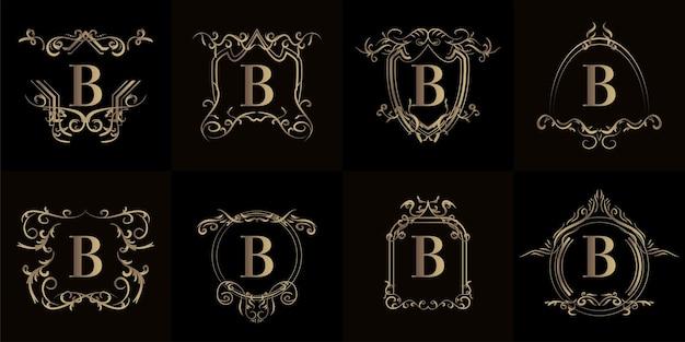 Ensemble de logo initial b avec ornement de luxe