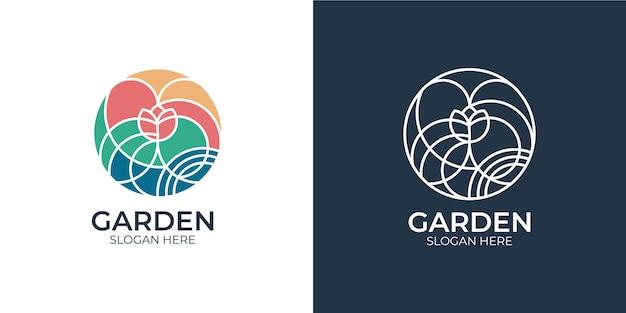 Ensemble de logo de jardin coloré minimaliste