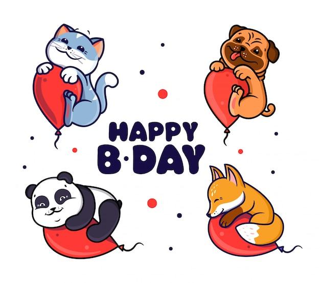 Ensemble de logo joyeux anniversaire avec des animaux.