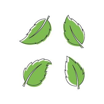Ensemble de logo leaf avec modèle de conception d'art en ligne