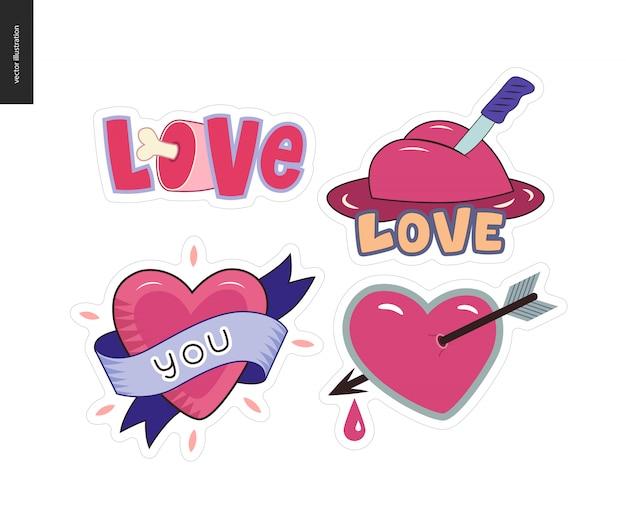 Ensemble de logo de lettre d'amour girlie contemporain
