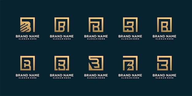 Ensemble de logo de lettre b avec concept créatif d'or vecteur premium