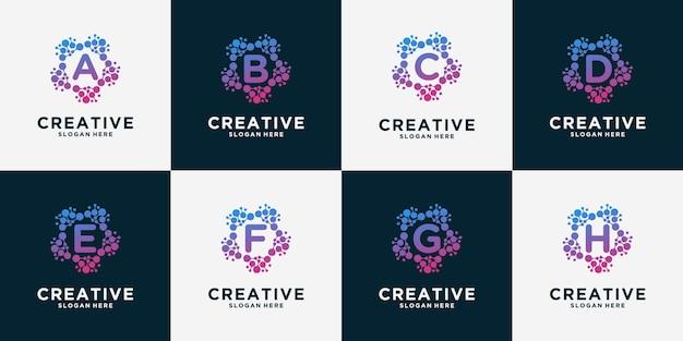 Ensemble de logo de lettre avec concept de point. puce à adn atomique de molécule de biotechnologie universelle.