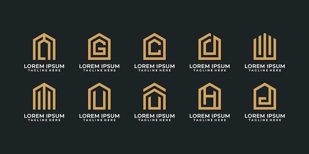 Ensemble de logo de lettre de construction