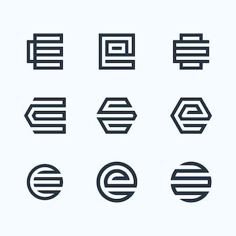 Ensemble de logo lettre e