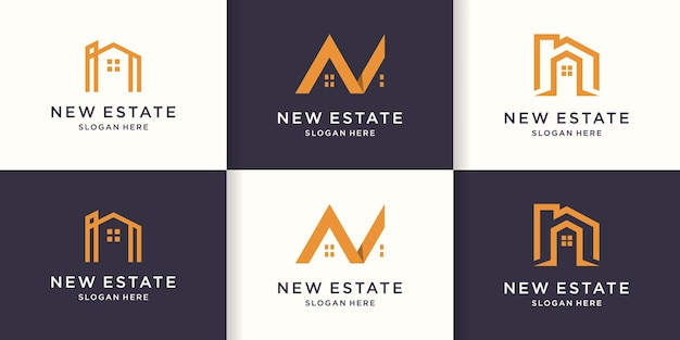 Ensemble de logo de lettre immobilière avec concept de ligne simple