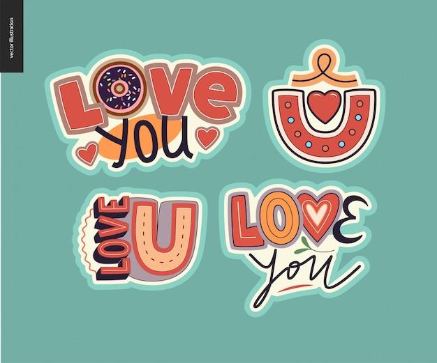 Ensemble de logo lettre loveie fille contemporaine