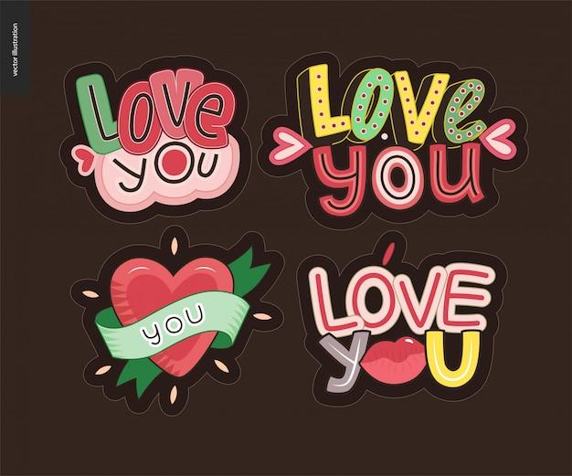 Ensemble de logo lettre loveie jeune fille contemporaine
