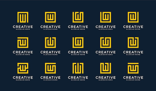 Ensemble de logo lettre w dans le style de cercle