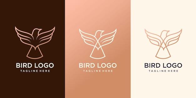 Ensemble de logo de ligne d'oiseau créatif vecteur premium