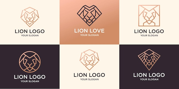 Ensemble de logo de lion d'art abstrait au trait vecteur premium