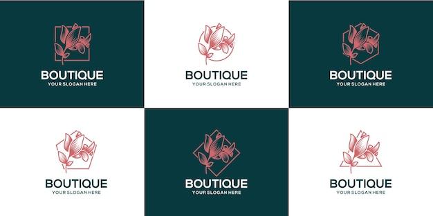 Ensemble de logo de luxe boutique fleur