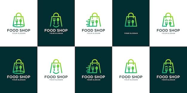 Ensemble de logo de magasin d'alimentation. combinaison du logo du sac à provisions et des couverts