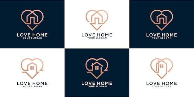 Ensemble de logo à la maison avec la conception de concept de forme d'amour créatif vecteur premium